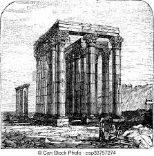 vectors illustration of the temple of olympian zeus or columns of