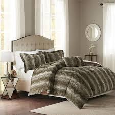 amazon com zuri faux fur duvet cover set grey full queen home