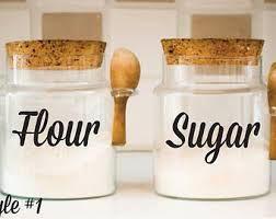 kitchen flour canisters canister decal etsy