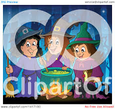 clipart of a group of halloween witches and a cat around a
