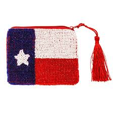 Texas Flag Decor Beaded Texas Flag Purse Texas Capitol Gift Shop