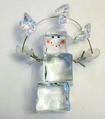 6 clear plastic cube snowman ornament with mittens and