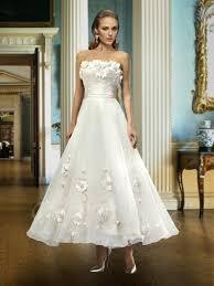 al a line strapless flowers ankle length wedding dress tbdress com