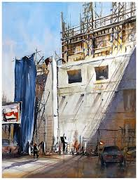 construction site los angeles thoma w schaller watercolor 30x22