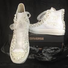 wedding shoes converse white leather hi tops customised wedding shoes shoe storey