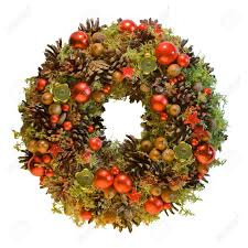 red christmas wreath from natural eco materials stock photo