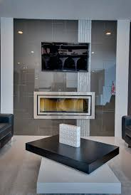 linear fireplace with vertical accent tile modern fireplaces