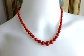 red coral bead necklace images Vintage natural tomato red coral graduated bead necklace with 14k jpg