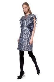 silver grey sequinned short dress with ruffled sleeves diana arno