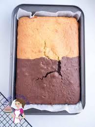 two in one chocolate vanilla sheet cake recipe veena azmanov