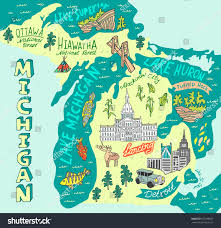 Usa Tourist Attractions Map by Illustrated Map State Michigan Usa Travel Stock Vector 677399557