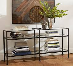 wood and iron sofa table tanner long console table bronze finish pottery barn
