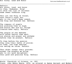 southern and bluegrass gospel song all glory laud and honor lyrics
