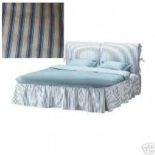 Cover Bed Frame Morkedal Bedframe Cover Blue White Ticking Stripes Cotton