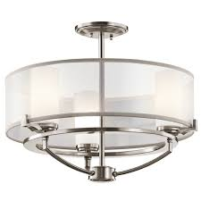 Kichler Lighting Chandeliers Kichler Saldana 3 Light Chandelier In Classic Pewter Semi Flush