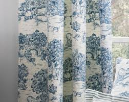 Blue Toile Curtains Toile Curtains Etsy