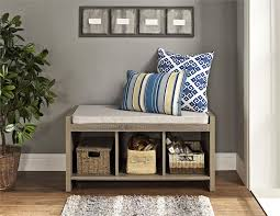 Bench With Cushion Ameriwood Furniture Penelope Entryway Storage Bench With Cushion