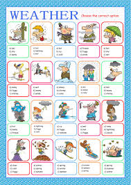 weather multiple choice interactive worksheet the weather esl