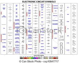 vector clip art of electronic circuit symbols complete set of