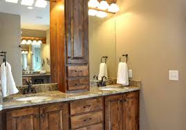 small bathroom decoration using rustic solid wood bathroom vanity