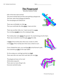 the playground reading comprehension worksheet