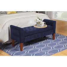 homepop navy velvet storage bench settee free shipping today