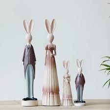 rabbit home decor 2pcs set home decor ornament garden yard resin rabbit bunny figurine