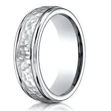hammered wedding band cobalt chrome wedding band with hammered center