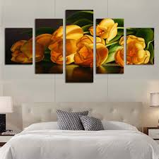 art painting for home decoration unframed5 panels modern the home decoration yellow flower canvas