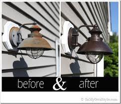 outdoor light fixture makeover using metallic paint inmyownstyle com