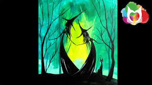 easy halloween painting adorable witch sisters in the woods