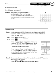 graphing calculator activity transformations 7th 8th grade