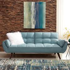 Living Room With Blue Sofa Shop Scott Living Turquoise Blue Sofa Bed At Lowes Com