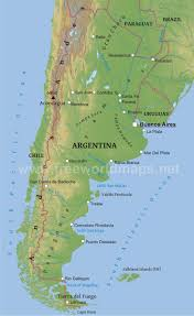 Labeled Map Of South America by Argentina Physical Map