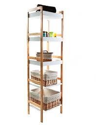 Bathroom Storage Shelf Gloss White U0026 Bamboo Shelving Unit 5 Tier Bathroom Pinterest