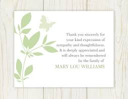 thank you card samples funeral thank you cards to order after