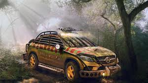 jurassic park car mercedes mercedes benz gle 450 amg sport coupe rendered with jurassic world theme
