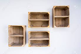 contemporary shelves made of wooden vegetable boxes trendy hipster