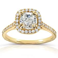 cushion diamond ring cut diamond halo engagement ring 1 1 3 carat ctw in 14k yellow gold