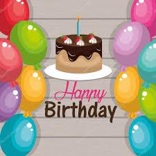 happy birthday cake chocolate balloons graphic u2014 stock vector