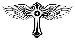 cross with wings 2 decal sticker