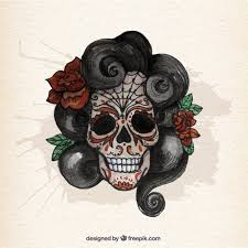 watercolor sugar skull with curly hair vector free