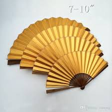 bamboo fan 2018 plain gold color diy fans crafts gift 7 8 910