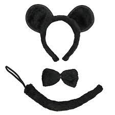 Mice Halloween Costumes Amazon Seasonstrading Black Mouse Ears Tail U0026 Bow Tie