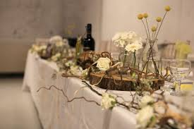 top table decoration rustic wood branches twisted willow jars