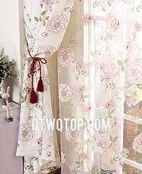 aqua and pink affordable fancy cheap printed floral curtains