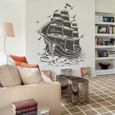 amazon com vinyl pirate ship wall decal sail boat wall sticker amazon com vinyl pirate ship wall decal sail boat wall sticker nautical wall graphic wall mural vinyl home art decoration black home kitchen