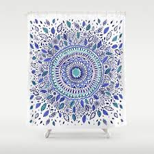 Sourpuss Shower Curtain Indigo Flowered Mandala Shower Curtain By From Society6 Shower