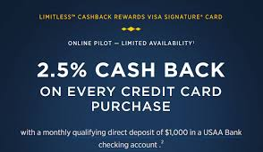 get 5 cashback on purchase usaa limitless 2 5 cashback now no longer available for new