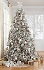 decorating ideas large silver tree with yellow white blue
